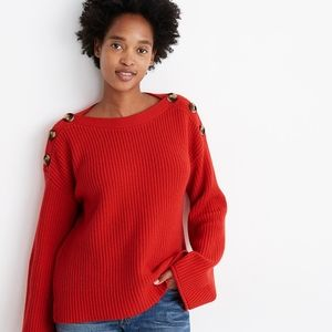 Madewell Calloway Boatneck Pullover Red Sweater